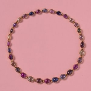 Vintage Bulgari Multi Colour Sapphire Necklace; 71.25cts, oval cabochon sapphires mounted in 18ct yellow gold, can be worn as two bracelets, signed Bvlgari