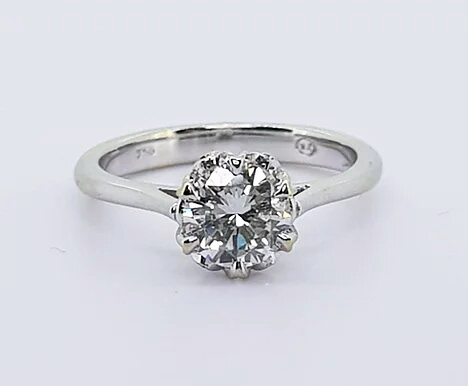 Diamond Solitaire Engagement Ring; A traditional diamond engagement ring featuring a 0.85 carat round brilliant-cut diamond, claw-set, in 18ct white gold.