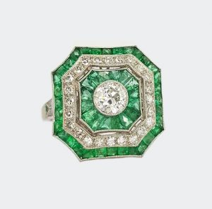 Art Deco Style Emerald and Diamond Cluster Square Cocktail Ring