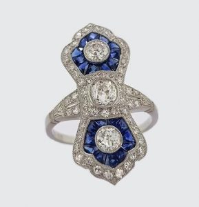 Art Deco Style Sapphire, Diamond and Platinum Navette Panel Ring