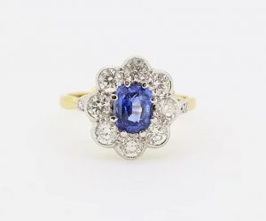 Sapphire and Diamond Floral Cluster Ring, 1.60cts, 18ct Yellow Gold