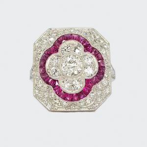 Ruby, Diamond and Platinum Panel Cluster Cocktail Ring