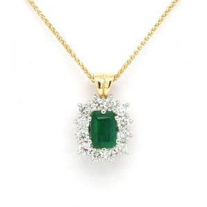 0.94ct Emerald Cut Emerald and Diamond Cluster Pendant, 18ct Gold