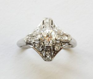 Art Deco Old Cut Diamond and Platinum Ring, Signed Peacock
