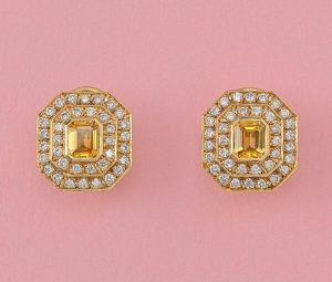 Vintage Steltman 1.8ct Yellow Sapphire and Diamond Cluster Earrings