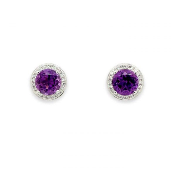 1.50ct Amethyst and Diamond Cluster Stud Earrings; round faceted amethysts within a surround of brilliant cut diamonds, 18ct white gold