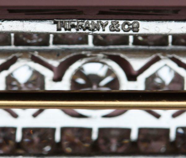 Art Deco Tiffany and Co 3.60ct Diamond Set Platinum Bar Brooch, Signed