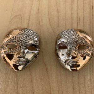 A Pair of Vintage Diamond Set 18ct Gold Mask Brooches