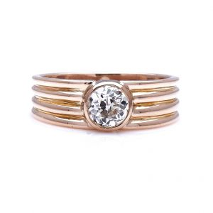 Antique Art Deco 0.90ct Diamond Gold Band Ring