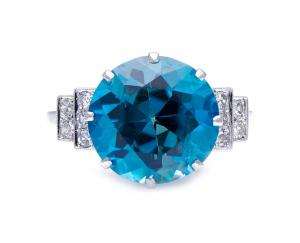 Antique Art Deco Blue Zircon and Diamond Ring