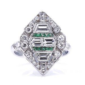 Antique Art Deco Diamond Emerald Cluster Ring