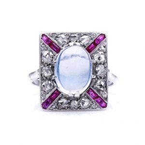 Antique Art Deco Moonstone Ruby Diamond Platinum Ring