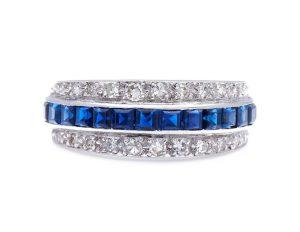 Antique Art Deco Platinum Sapphire and Diamond Band Ring