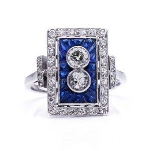 Art Deco Style Sapphire Diamond Plaque Cluster Ring