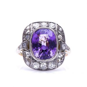 Early 20th Century Purple Spinel Diamond Cluster Ring