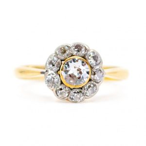 Antique Edwardian Old Mine Cut Diamond Cluster Ring