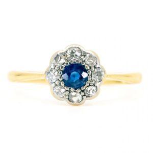 Antique Edwardian Sapphire Old Mine Cut Diamond Cluster Ring