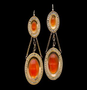 Antique French Carnelian and Gold Drop Earrings
