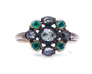 Antique Georgian Emerald and Diamond Cluster Ring