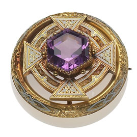Antique Victorian Amethyst and White Enamel Gold Brooch