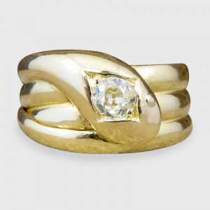 Antique Victorian Old Cut Diamond 18ct Gold Snake Ring