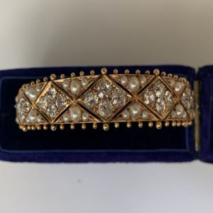 Antique Victorian Old Cut Diamond Pearl Gold Bangle Bracelet