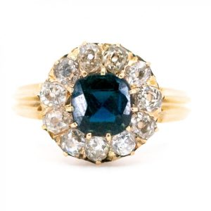 Antique Victorian Sapphire Diamond Cluster Ring
