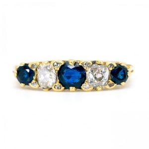 Antique Victorian Sapphire Diamond Five Stone Ring