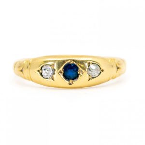 Antique Victorian Sapphire Old Mine Cut Diamond Gold Band Ring