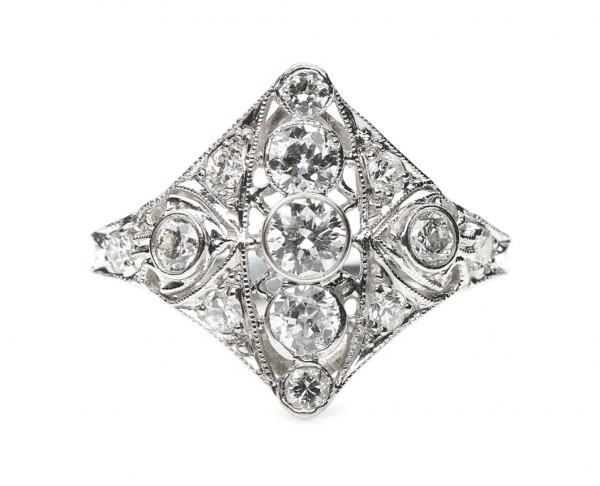 Art Deco Style Diamond Plaque Ring