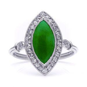 Art Deco Style Jadeite Jade Diamond Platinum Ring