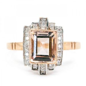 Art Deco Style Morganite and Diamond Ring