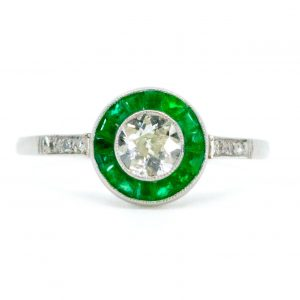 Art Deco Style Old Mine Cut Diamond Emerald Target Ring