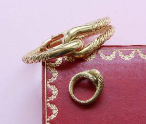 Vintage Cartier George Lenfant 18ct Gold Knot Bracelet and Ring