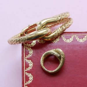 Vintage Cartier George Lenfant 18ct Gold Knot Bracelet and Ring; Cartier by George Lenfant 18ct yellow gold knot bangle and 18ct yellow gold knot ring, signed and numbered