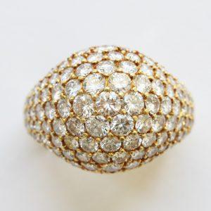 Vintage Cartier Kurt Wayne 3.50ct Diamond Bombe Ring, 18ct yellow gold, Circa 1980, Signed and numbered: Kurt Wayne for Cartier, 45623, 70487 41323.