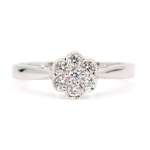 Diamond Daisy Cluster 18ct White Gold Ring