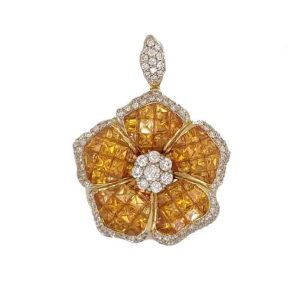 8.87ct Yellow Sapphire and Diamond Floral Cluster Pendant in 18ct White Gold