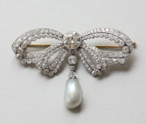 Antique Edwardian 6ct Old Cut Diamond and Pearl Garland Bow Brooch
