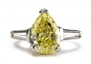 4.01ct Fancy Intense Yellow Diamond Platinum Ring