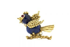 Vintage 1950s Lapis Lazuli Gold Bird Brooch