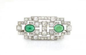 Antique Art Deco Emerald and Diamond Brooch, Platinum