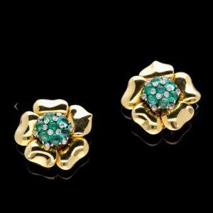 Mauboussin Emerald and Diamond Gold Flower Earrings