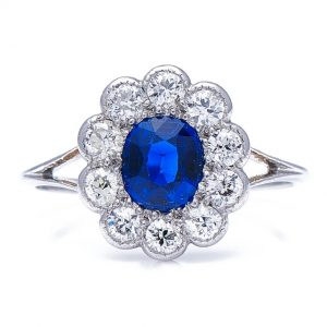 Tiffany & Co. Antique Art Deco Sapphire and Diamond Cluster Ring