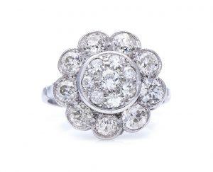 Vintage 1.75ct Old Brilliant Cut Diamond Floral Cluster Ring