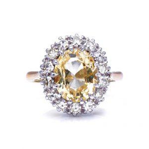 Vintage 4ct Yellow Sapphire Diamond Cluster Ring