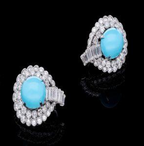 Vintage André Vassort 7.50ct Diamond and Turquoise Earrings