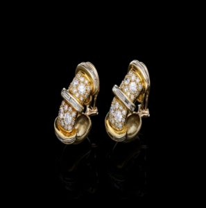 Vintage Baguette and Brilliant Cut Diamond Clip Earrings