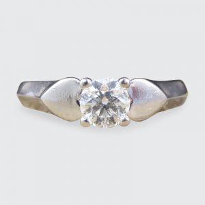 Vintage Brilliant Cut Diamond and Platinum Heart Shoulders Ring