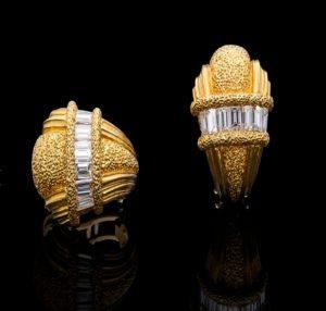 Vintage Buccellati Diamond Seashell Gold Earrings